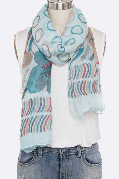 Heart And Flower Print Oblong Scarves Set