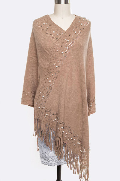 Pearl Accent Fringe Iconic Poncho Set