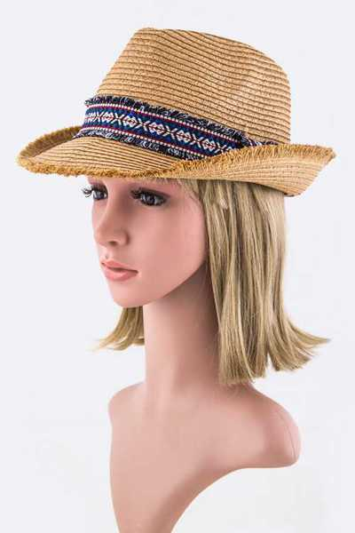 Fringed Brim Fashion Fedora