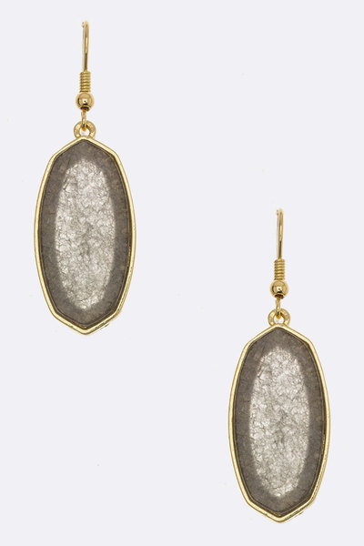 Oval Stone Drop Earrings