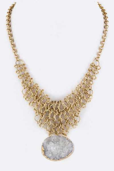 Druzy Braided Chain Iconic Necklace