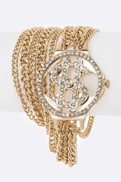 Crystal Dollar Sign Mix Chain Wrap Around Bracelet