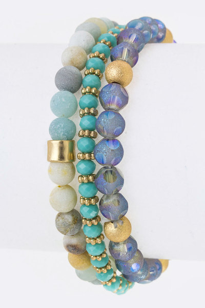 Mix Beads Stretch Bracelets Set