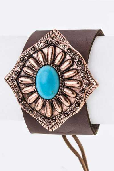 Turquoise Concho Leather Cuff