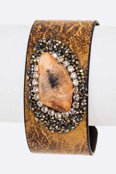 Genuine Stone Druzy Distressed Adjustable Cuff