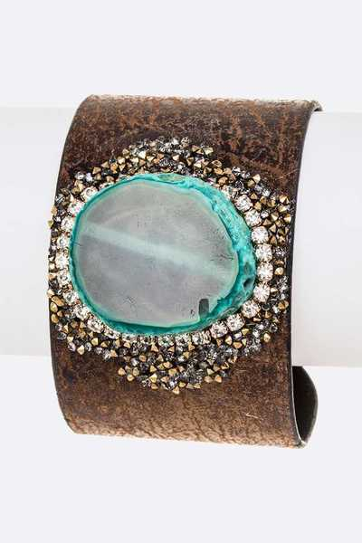 Genuine Stone Crystal Druzy Adjustable Cuff