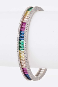 CZ Multi Color Baguette Stone Bangle