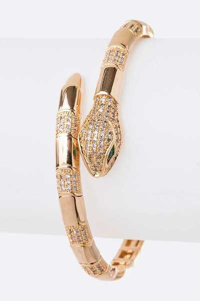 CZ Snake Iconic Micro Pave Bangle