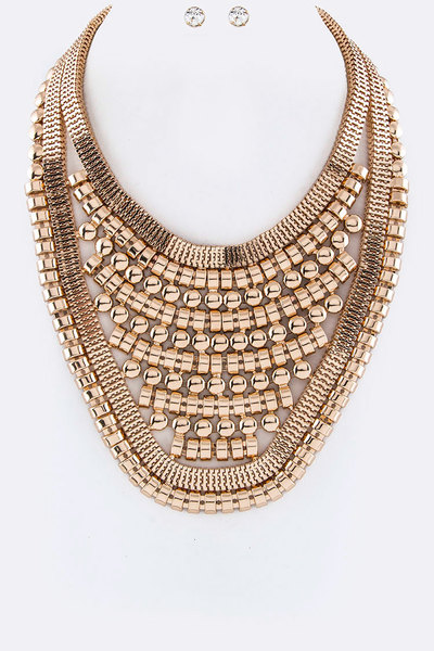 Metal Bib Iconic Necklace Set