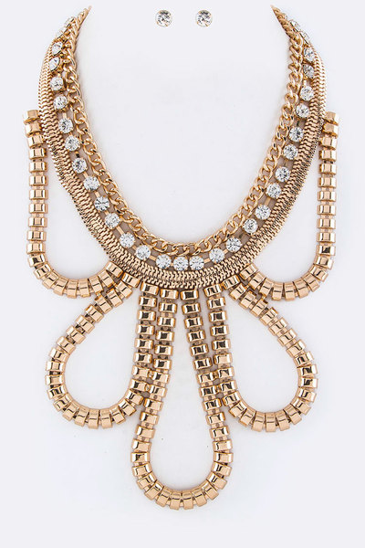 Iconic Metal Statement Necklace Set