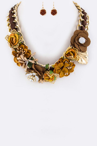 Mix Media Floral Statement Necklace Set