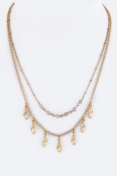 Metal Feathers & Pearls Layer Necklace