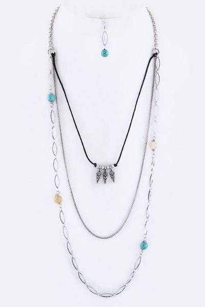 Beads Metal Arrowheads Layer Necklace Set