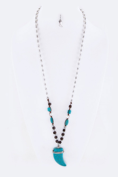 Precious Stone Horn Long Necklace Set