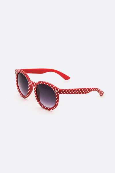 Kids Polka Dot Printed Round Sunglasses Set