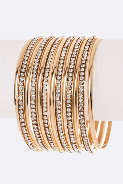 Crystal Stacking Bangle Set