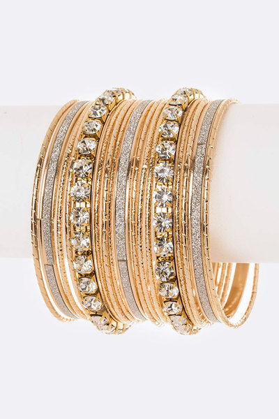 Crystal Glitter Mix Stacking Bangle Set