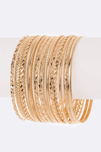 Mix Textured Gold Stacking Bangle Set