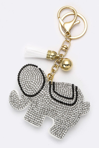 Crystal Elephant Key Charm