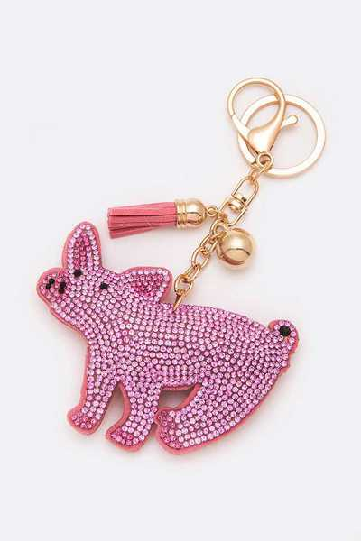 Crystal Pink Piglet Key Chain