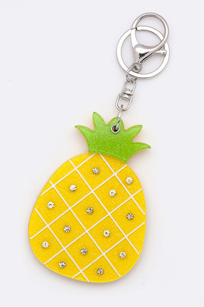Pineapple Compact Mirror Key Charm