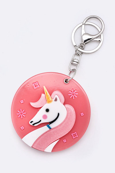 Unicorn Compact Mirror Key Charm