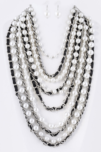 Pearl and Chain Layer Statement Necklace Set