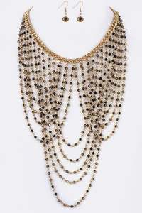 Layer Beads Statement Necklace Set