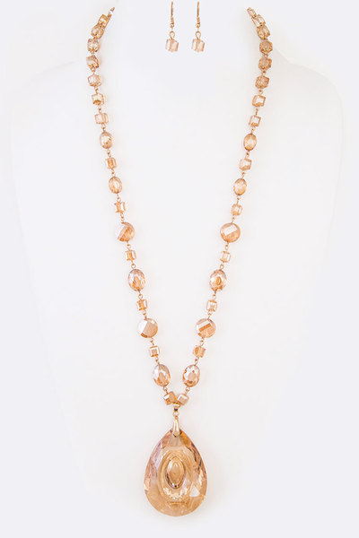 Crystal Teardrop Pendant Long Necklace Set