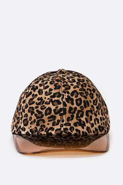 Cleared Visor Leopard Printed Fashion PU Cap