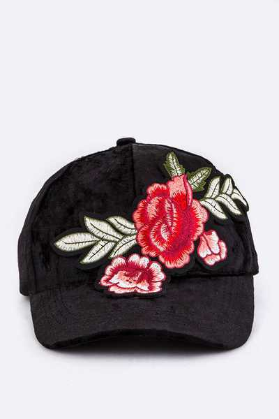 Rose Embroidery Plushy Cap
