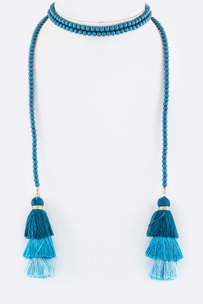 Layer Tassels Wrapped Choker Necklace