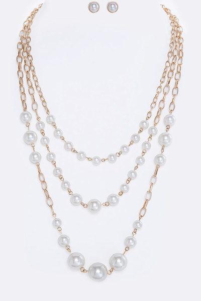 Pearl Multi Layer Necklace Set