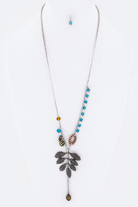 Mix Beads & Metal Leaf Necklace Set