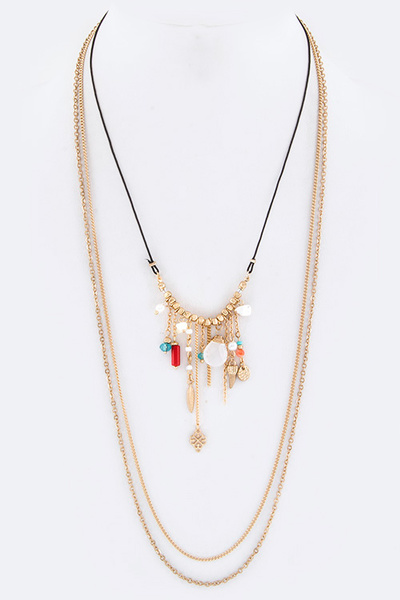 Mix Charms Convertible Layer Necklace
