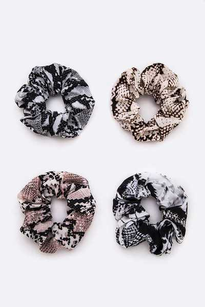 Snake Printed Scrunchies Set