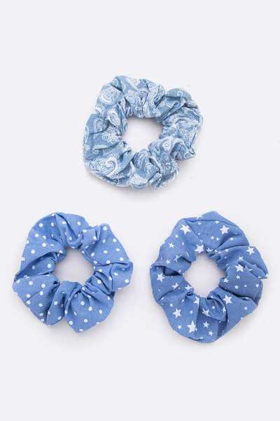 Mix Print Washed Denim Large Scrunchies Set
