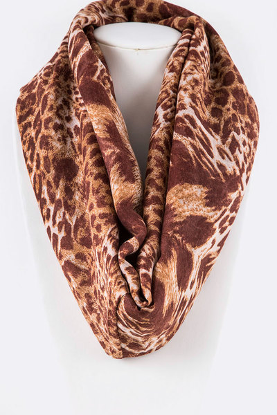 Animal Printed Viscose Infinity Scarf