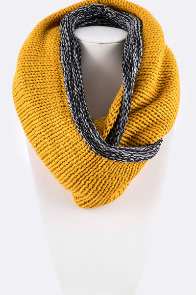 Contrast Edge Flat Knit Infinity Scarf