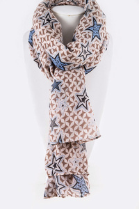 Star Printed Iconic Large Viscose Scarf