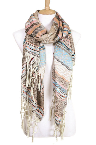 Cotton Tassel Jacquard Large Scarf