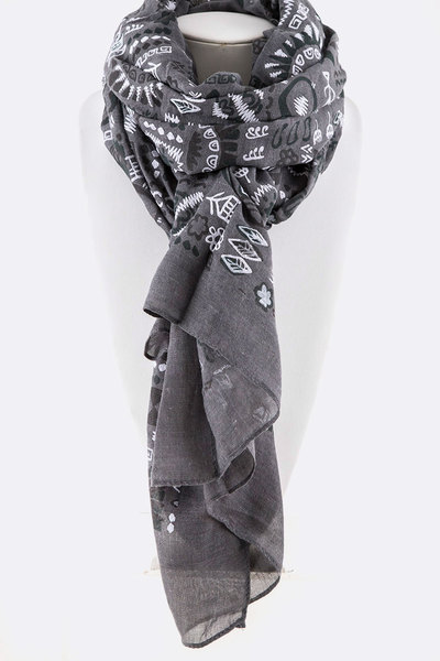Hieroglyph Iconic Printed Scarf