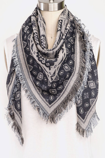 Mix Prints Iconic Fringe Square Scarf