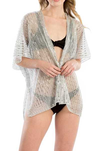 Metallic Strip Light Weight Kimono Cardigan