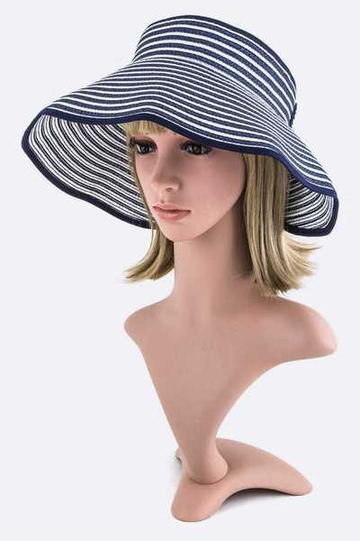 Stripe Weaved Large Straw Sun Visor