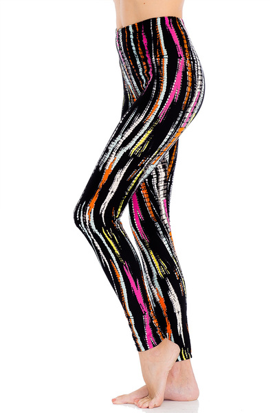 Abstract Color Strokes Print Blushed Leggings