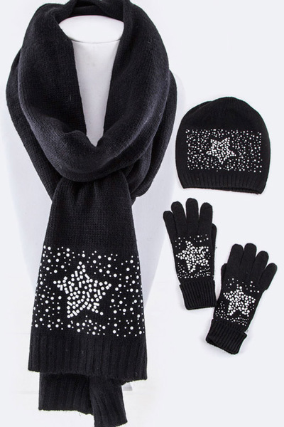 Studded Star Scarf, Hat & Gloves Gift Set