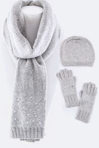 Wool Blend Scarf, Hat & Gloves Gift Set
