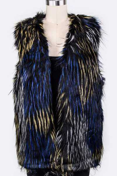 Mix Color Faux Fur Vest