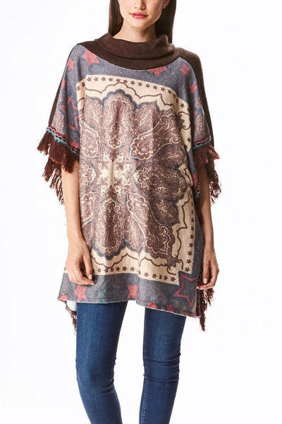 Turtle Neck Viscose Fringe Poncho